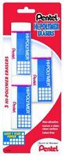 Pentel Hi Polymer Large Block Eraser 3 Pack Zeh10bp2f