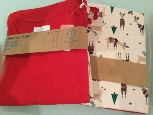 Primark Noël Pyjamas Set Rouge Renne Arbre 8 10 12 14 16 18 20