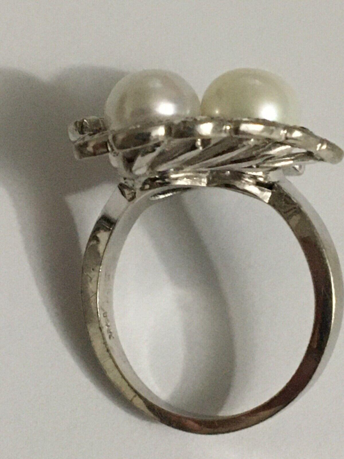 Vintage pearl and diamond Ring, Pearl and Diamond… - image 11