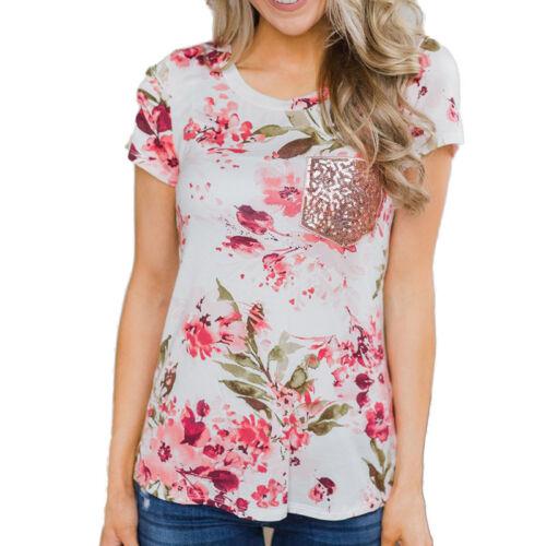 Damen BOHO Blumen Carmen Bluse Kurzarm T Shirts Tops Tunika Oberteil Übergröße