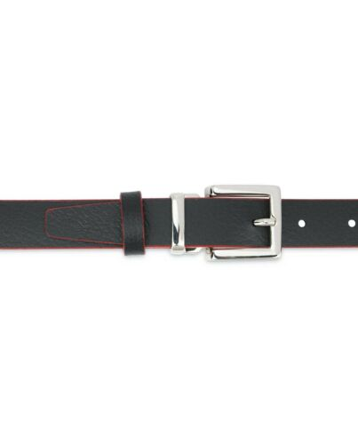 Black leather belt Red edges Thin 1 inch 25 mm Mens Womens Square nickel buckle