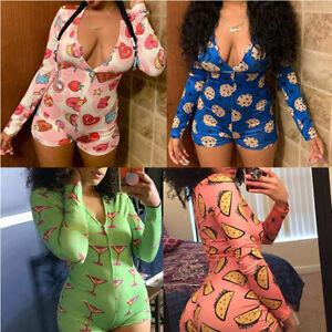 Women-039-s-Sexy-Bodycon-V-Neck-Long-Sleeve-Jumpsuit-Shorts-Romper-Leotard-Bodysuit