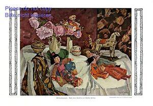 Weihnachten Puppen XL Kunstdruck 1913 von Walter Püttner † Schloss Maxlrain +