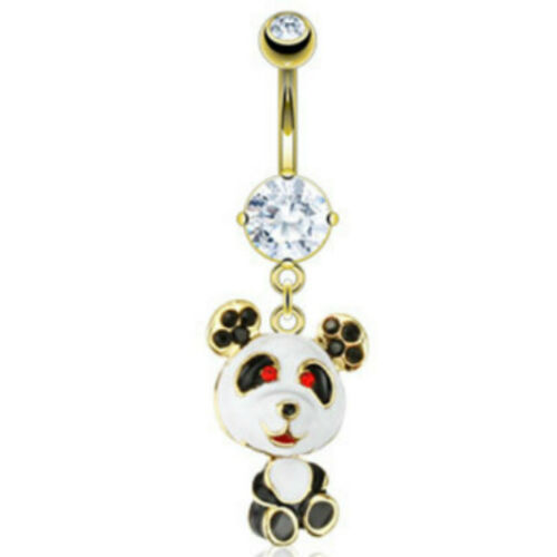 Gold IP Red Black Paved Gem Epoxy Coated Panda Navel Belly Ring