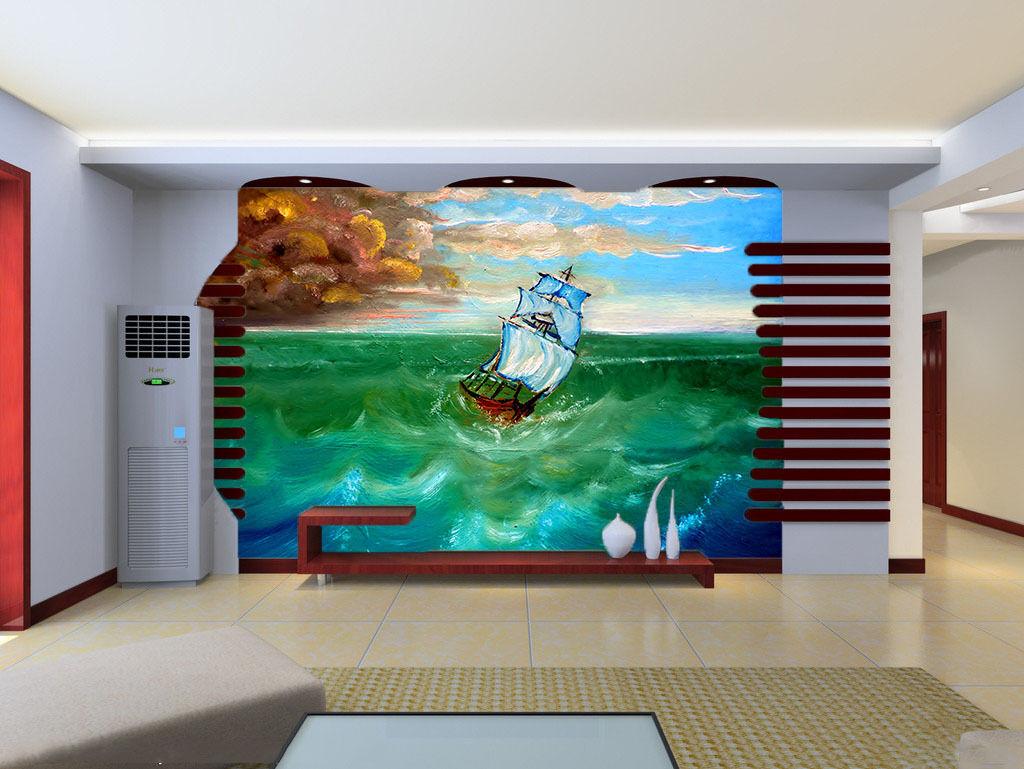 3D Sea Swaying Ship 036 Wall Paper Wall Print Decal Wall Deco Wall Indoor Murals