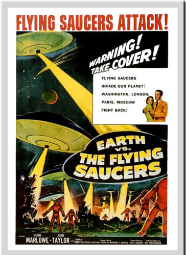 A3 Earth vs Flying Saucers Movie Cinema Film wall Home Posters Retro Art #10
