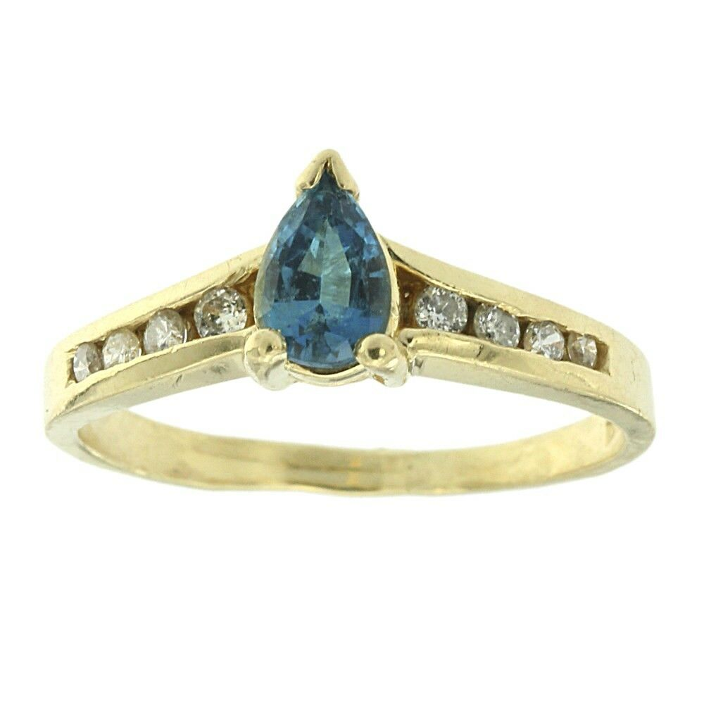 0.54ct Pear Genuine Natural bluee Zircon & Diamond Ring Solid 14k Yellow gold