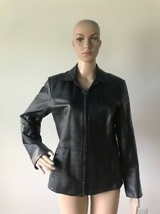 top fashion lower price with outlet sale Details about Worthington Black Genuine Leather Jacket Coat Zipper Front  Women's Petite S PS