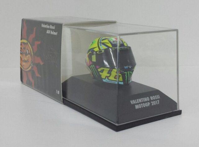 MINICHAMPS VALENTINO ROSSI MODELO AGV CASCO HELMET 1/8 YAMAHA MOTOGP 2017 NEW