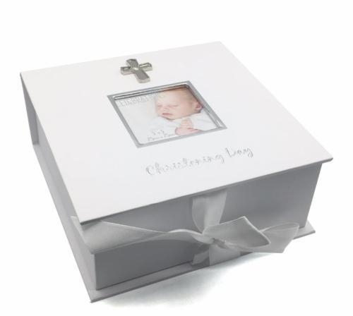 Baptême cadeau fête-keepsake box avec croix et cadre photo FW672T