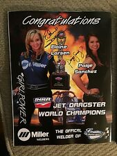 Elaine Larsen & Paige Sanchez Signed IHRA Drag Review Magazine Jet Drag Racing