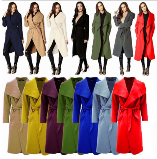 Womens Ladies Casual Modest Long Sleeve Dip Hem Belted Duster Tail Coat Jacket