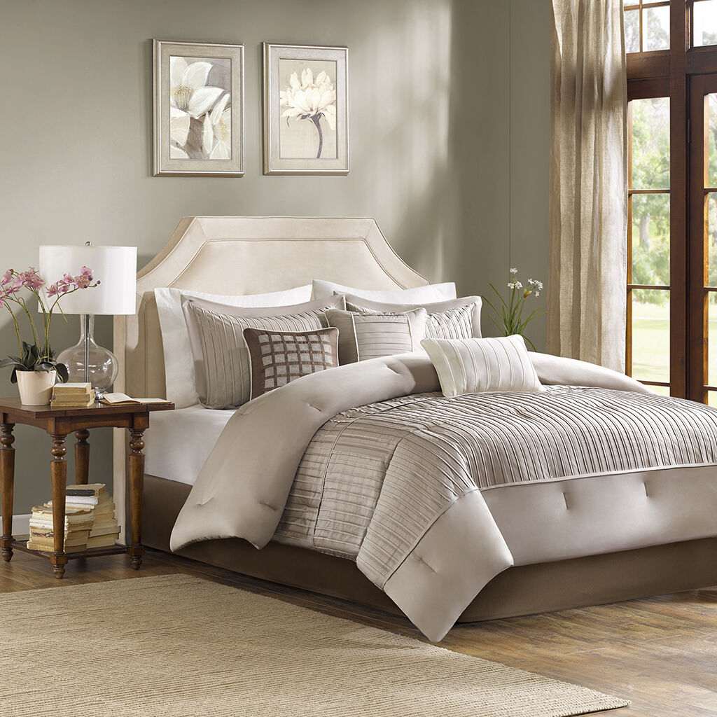 Beautiful Taupe   grau Pleating Comforter Sham Bedskirt 7 pcs Set Cal King Queen