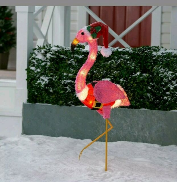15 Tall Tinsel Flamingo with Santa Hat Indoor Decoration Holiday Time Flamingo Decoration for Christmas