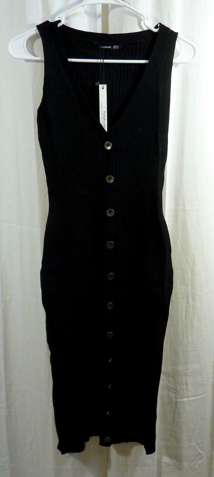 PattyBoutik damen's V Neck Sleeveless Knit Dress schwarz Größe Medium