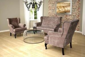 Chesterfield Wohnzimmer Sofagarnitur Textil Polster Sitz Sofa Couch