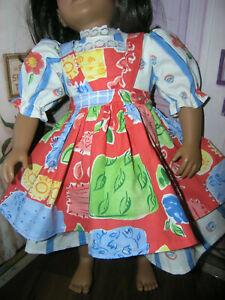 Floral-Dress-Orange-Print-Apron-2-piece-Dress-23-034-Doll-clothes-fits-My-Twinn