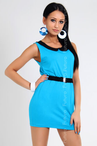 Sensible Women/'s SummerTunic with Collar /& Belt Dress Sleeveless Size 8-12 8037