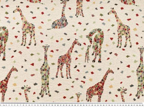 natur-multicolor 140cm Giraffen Jacquard Dekostoff