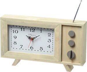 Boltze-Stand-Uhr-TV-L35cm-Holz-Landhausstil-Kuechenuhr-Wohnuhr