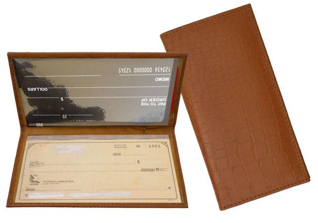 Tan Grain Leather Plain Standard Checkbook Cover Long Wallet Croc Cowboy Style