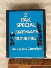 VINTAGE ATARI 2600 2 PAK CREATURE STRIKE DUNGEON MASTER VIDEO COMPUTER GAME CART