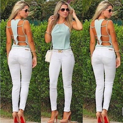 Fashion Sexy Women Summer Sleeveless Camisole Casual Crop Blouse Top Shirt
