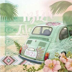 4 Serviettes En Papier Napkins Découpage Collage 33 Cm Ibiza Moins Cher
