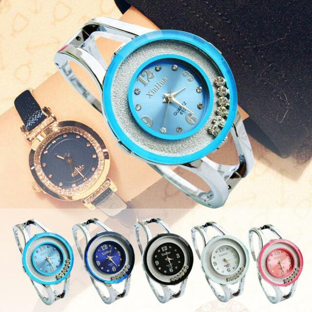 Ladies Bangle Crystal Dial Stainless Steel Quartz Analog Bracelet Wrist Watch GL