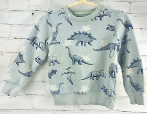 Mini-Boden-Dinosaurs-Crewneck-Sweatshirt-Shirt-Boys-4-5Y-Blue-As-Is-Playwear