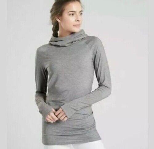 Athleta Sz Medium Gray Essence Hooded Cowl Neck Lightweight Soft Tunic Top