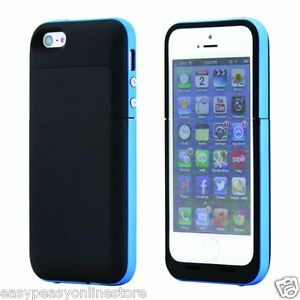 buy online 17cd1 b13ff Details about Black Blue power charger charging case for Iphone 5 5s SE  2500 mAh battery iOs10