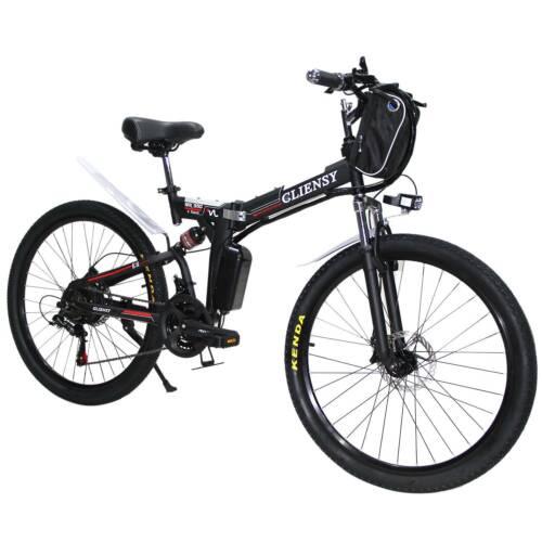 Red 21-Speed E-bike 26/'/' City Mountain Bicycles Folding Electric Bike 350W USA