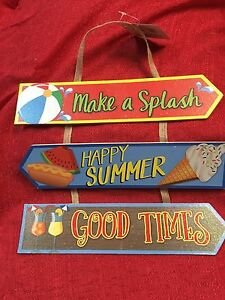 SUMMER GLITTERY HANGING SIGNS - Make A Splash, Happy Summer, Good Times