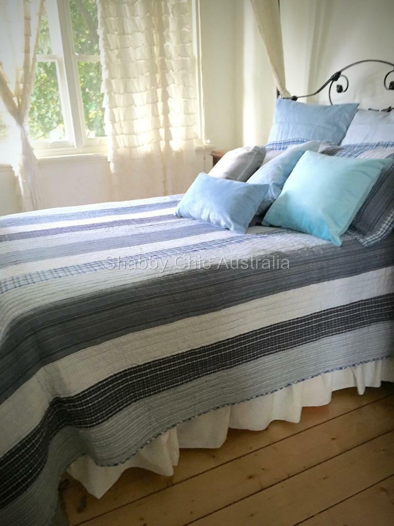 3 Pc Queen Bed Quilt Set Farmhouse Pottery Rustic Blue
