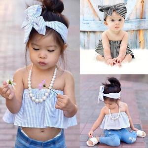 e877d10750c04c Cute Baby Kids Girls Striped Off Shoulder Tops + Headband 2Pcs Set ...