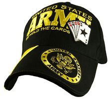 """U.S. Army Insignia Hat / """"We Hold the Cards"""" Black Baseball Cap 5788"""