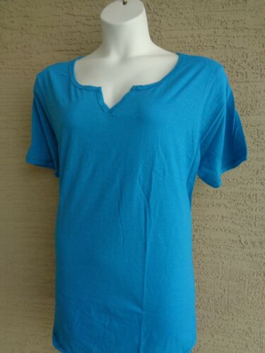 NWT Just  My Size 3X Cotton Blend S//S Split Neck Tee Top Bold Blue Heather