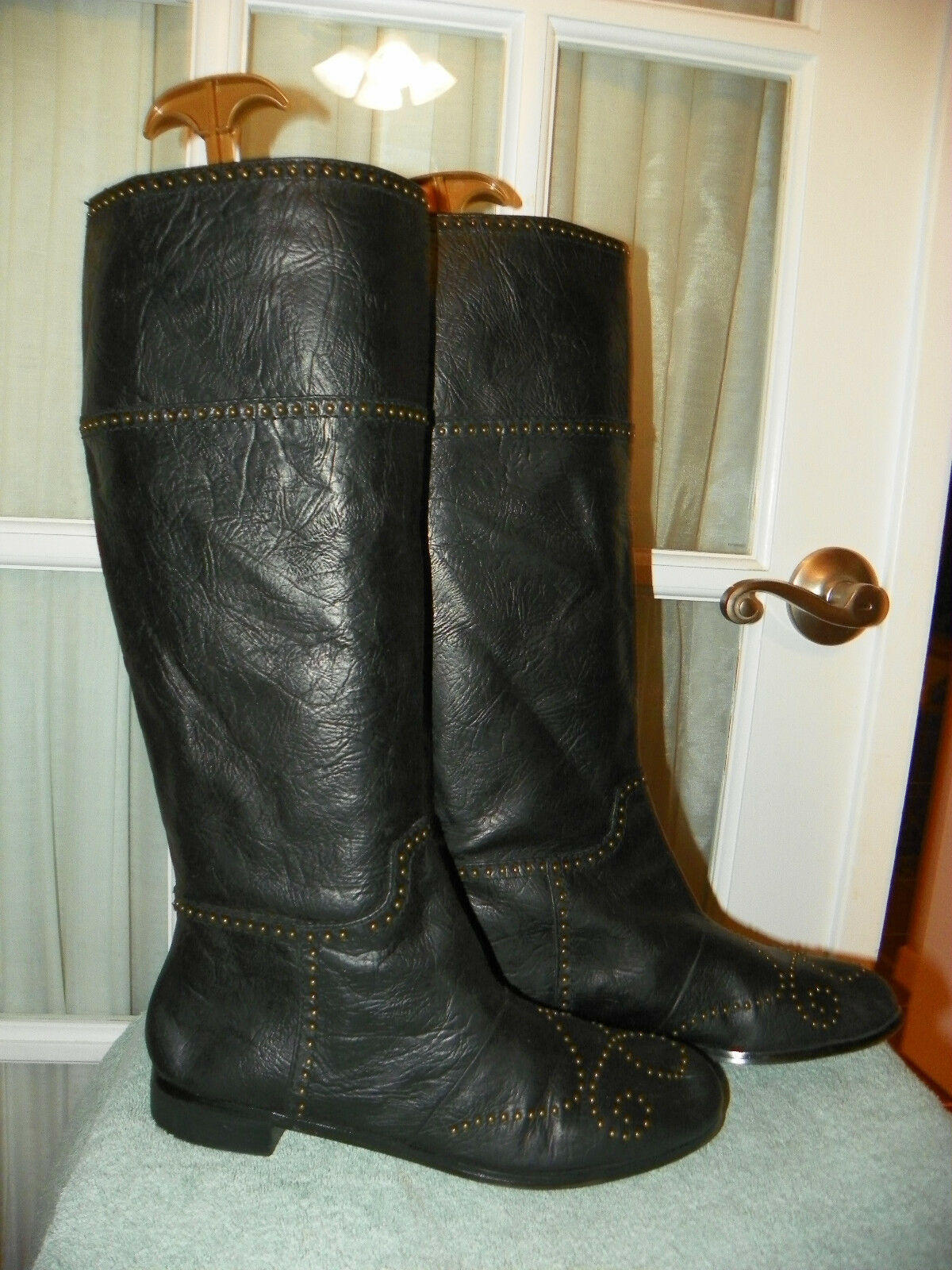 No 704 b. Jazz Black Studded Knee High Leather Boots Women's size EU 39.5 US 9.5