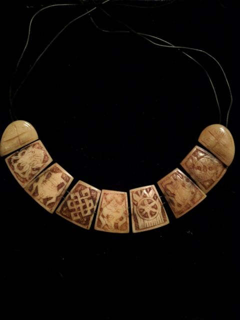 Vintage Eight Auspicious Signs Carved Bone Necklace Ashtamangala Beads Tibetan