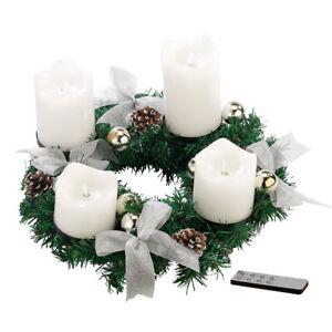 britesta adventskranz silbern 4 wei e led kerzen mit bewegter flamme ebay. Black Bedroom Furniture Sets. Home Design Ideas