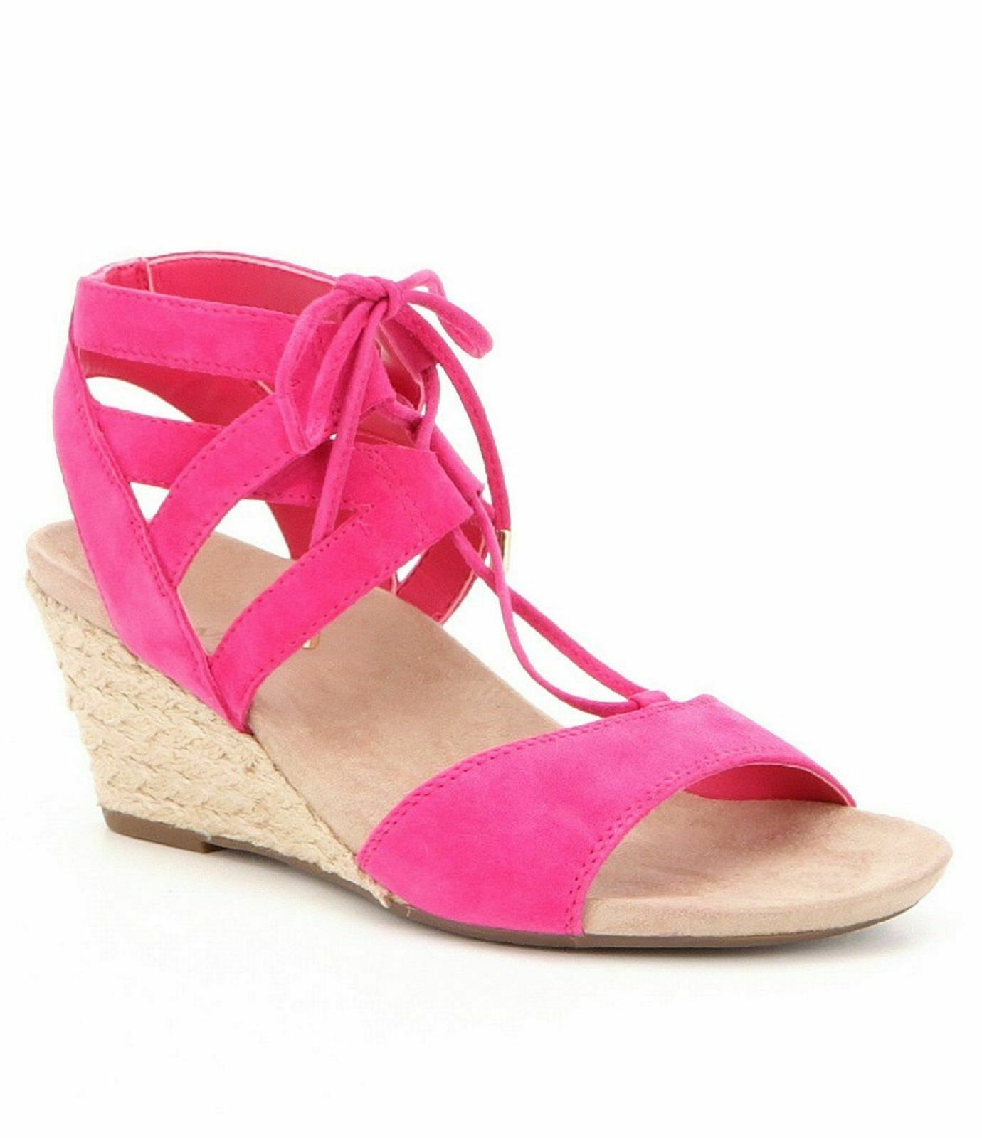 VIONIC Ladies NOBLE TANSY Suede Lace-Up Espadrille Sandals PINK Sz. 8M  NIB