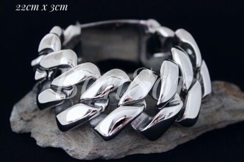 Edelstahl Herren Armband Panzerarmband Armkette Biker XXL groß Massiv silber