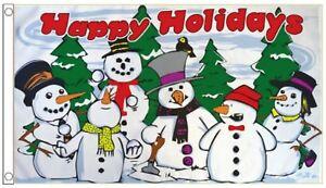 Vóór 1939 Christmas Seasons Greetings Snowman Banner 5'x3' Flag Verzamelingen