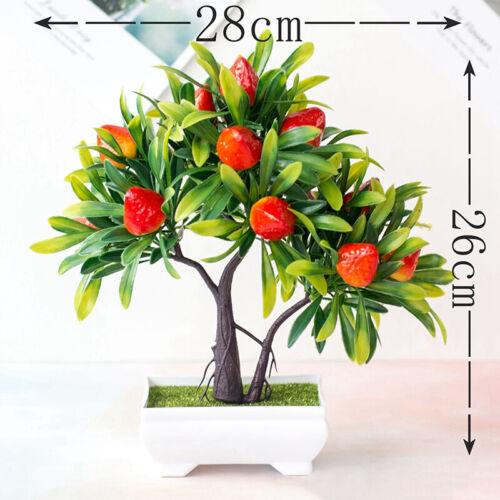 Decorative Artificial Realistic Plastic Desk Faux Bonsai Tree Potted Plant Pot