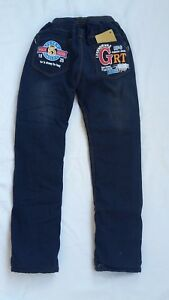 Kinder-Jungen-Thermo-Jeans-Thermojeans-Thermohose-gefuettert-blau-mit-Motiv