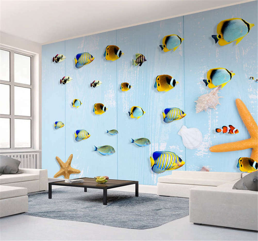Variable Cute Fishes 3D Full Wall Mural Photo Wallpaper Printing Home Kids Decor