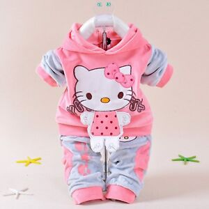 af0325dd9b59f Details about Baby Girls Clothing Set Cartoon Hello Kitty 2018 Winter  Autumn Children Clothing