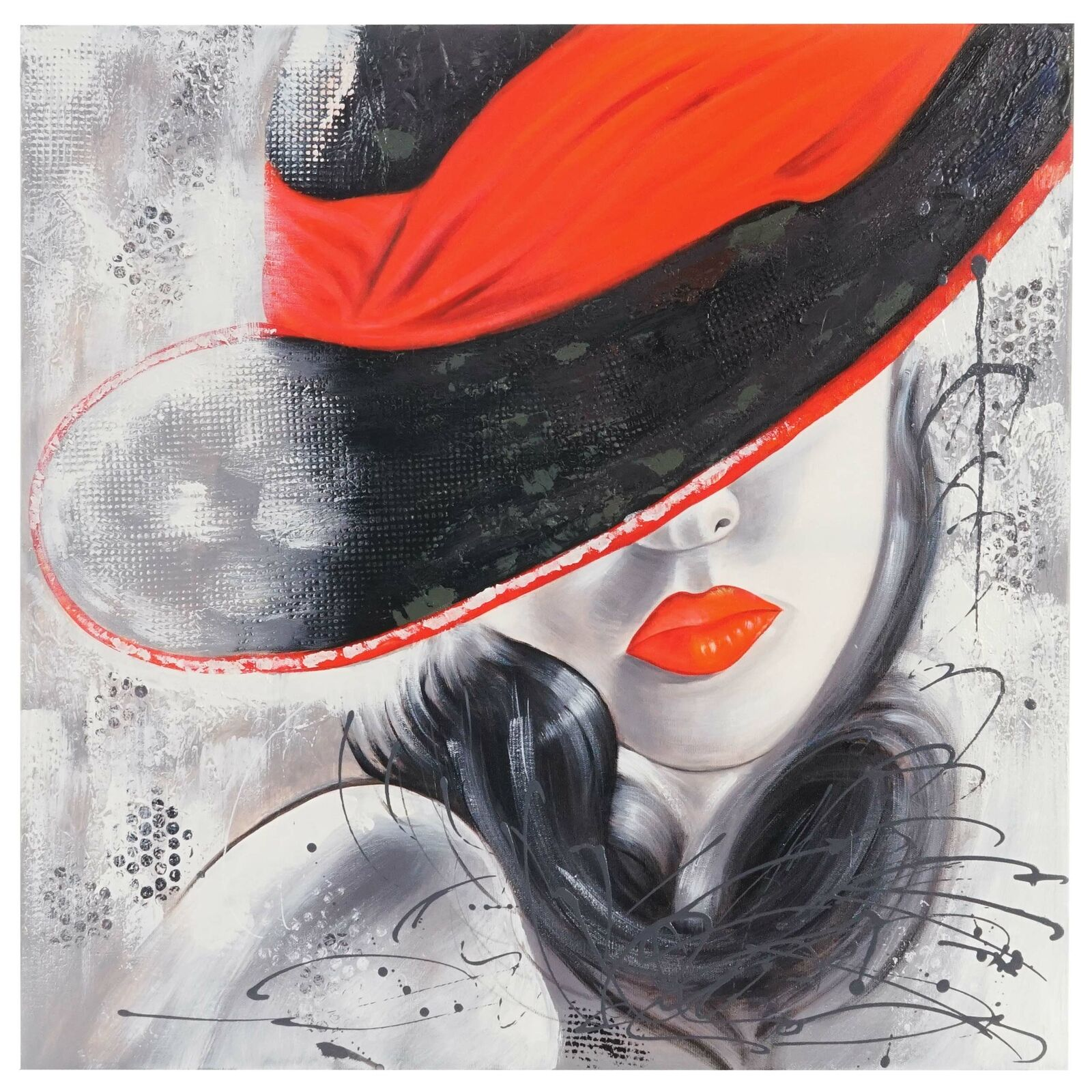 Cuadros oleos Lady, 100% parojo pintada imagen pinturas XL, 80x80cm