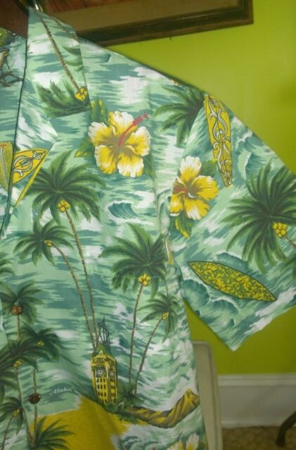 EXCELLENT Genuine Made in Hawaii USA Hawaiian Shirt Men's Large Cotton Blend